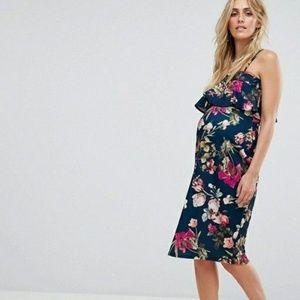°ASOS Maternity° Floral Ruffle Bandaeu Midi Dress